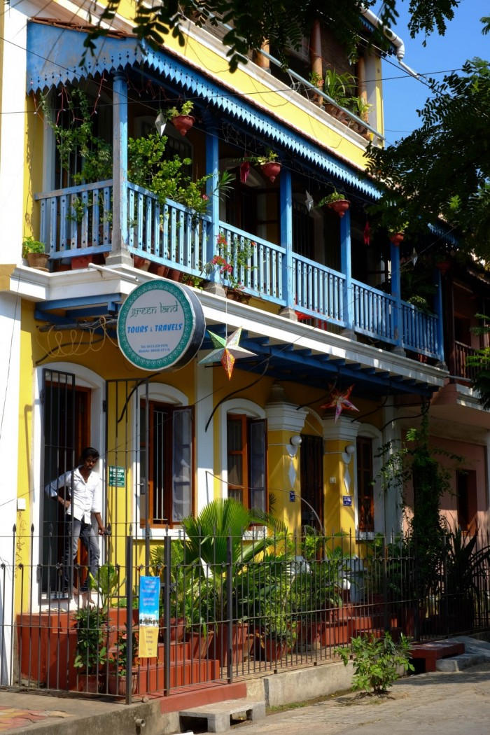 Photo d'une vieille maison coloniale à Pondichéry
