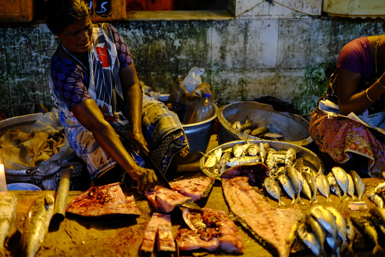 Photo du marché aux poissons de Trivandrum en Inde