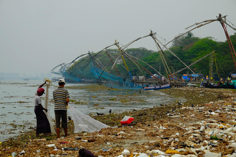 Photo des filets de pêche à Fort Cochin en Inde.