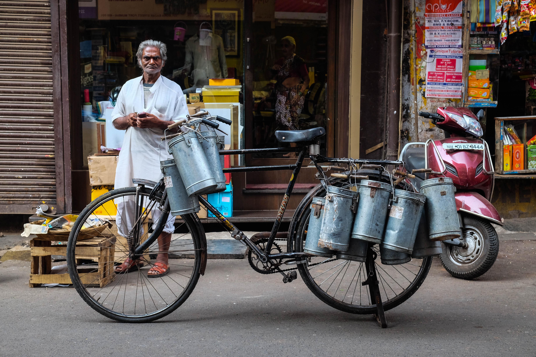 Vélo d'un dabawallah à Mumbai