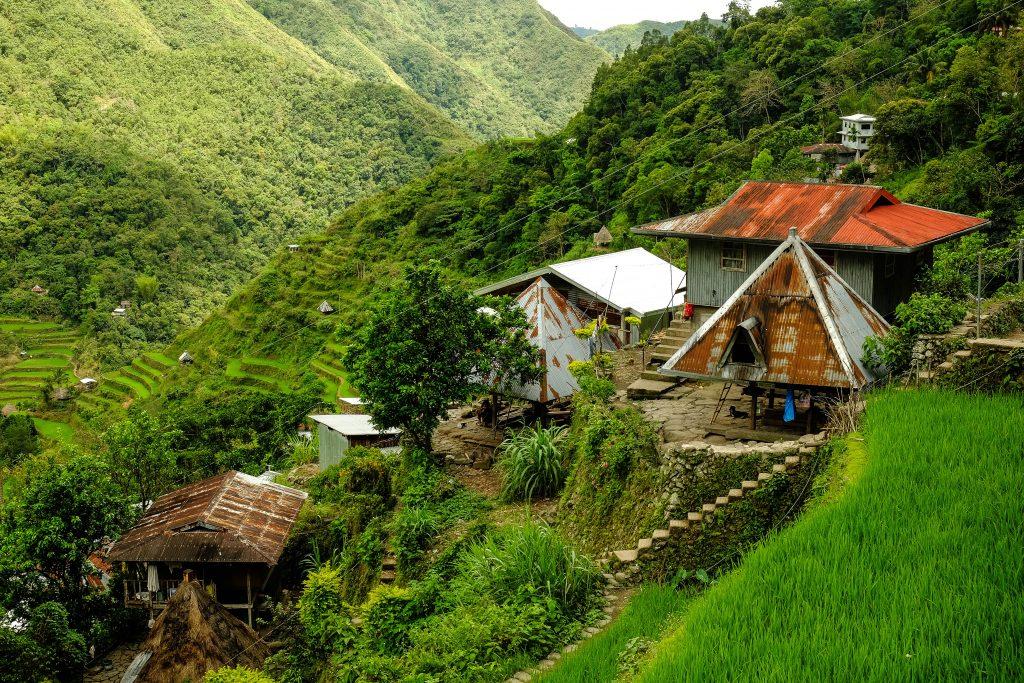 Un village traditionnel Ifugao dans le nord de Luzon aux Philippines.