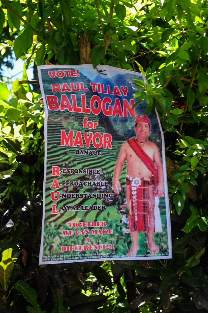 Affiche électorale à Banaue dans la Cordillera aux Philippines.