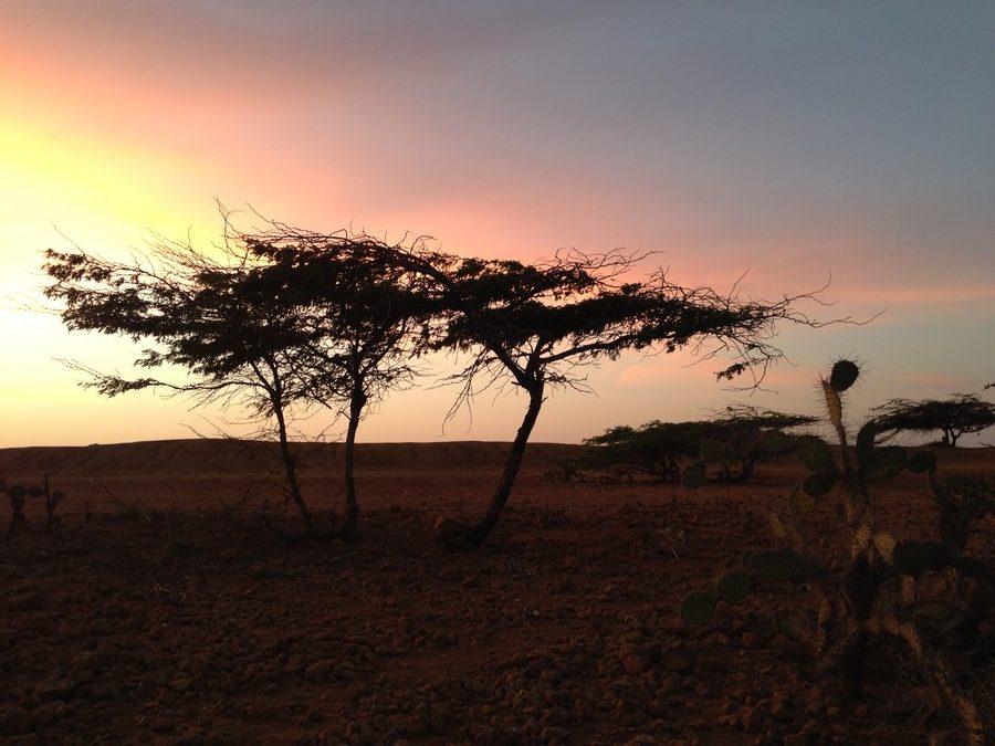 Coucher de soleil dans le désert de la Guajira.