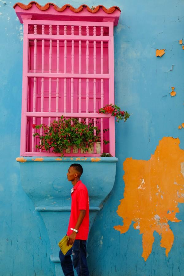 Les murs colorés de Carthagène de Indes en Colombie.