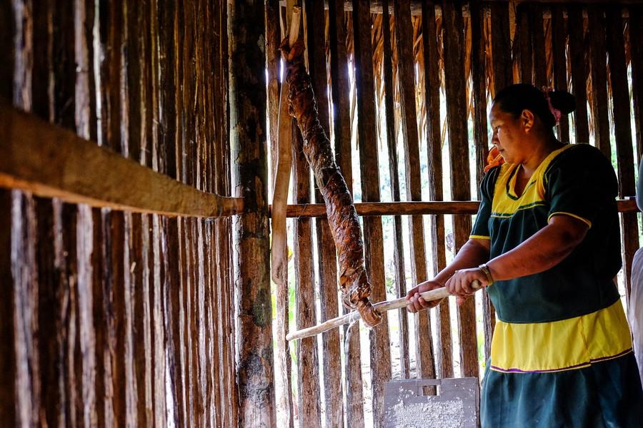 Préparation du pain de yuca dans une communauté Siona en Amazonie équatorienne.