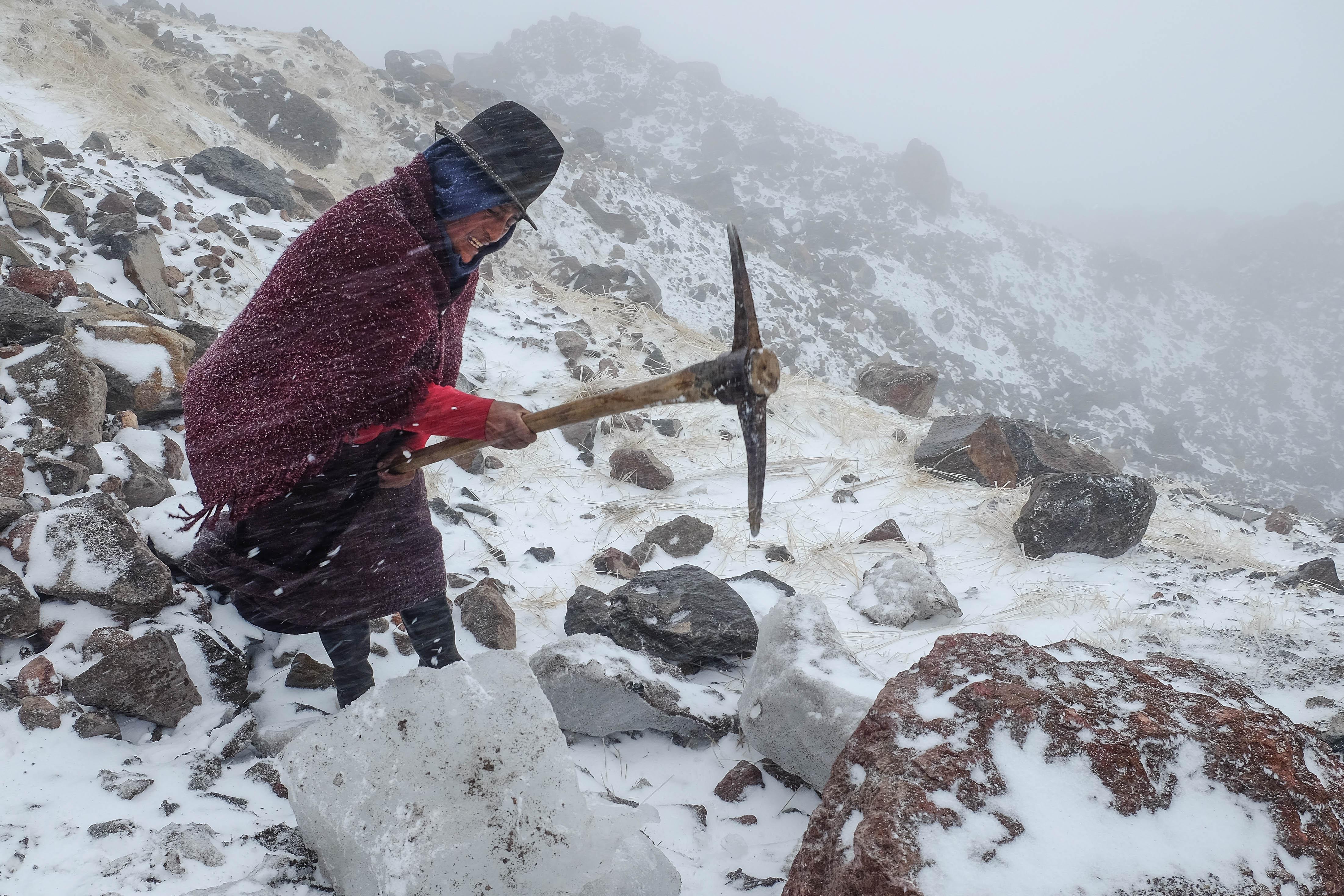 Sur le glacier du Chimborazo