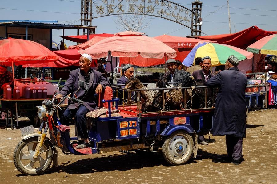 A l'entrée du marché aux animaux de Kashgar, Chine.