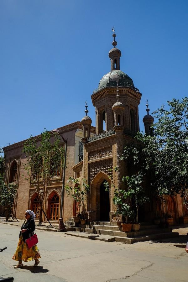 Mosquée dans les rues de Kashgar, ville Ouïghoure de Chine.