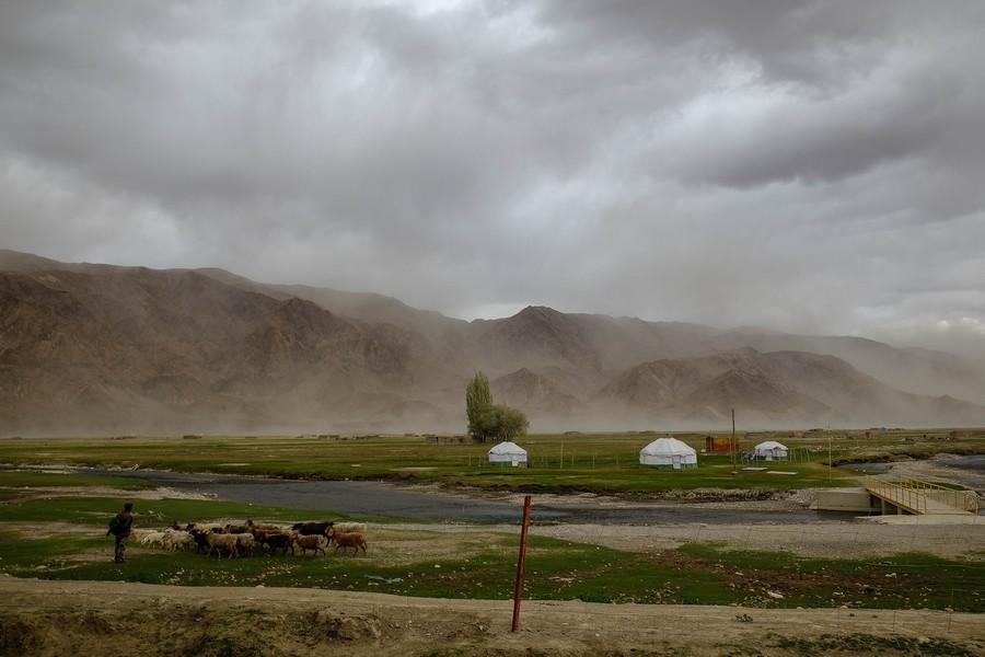 Avis de tempête sur Tashkurgan, Chine occidentale.