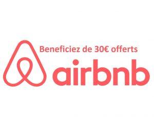 Bénéficiez de 30€ offerts sur votre première réservation Airbnb.