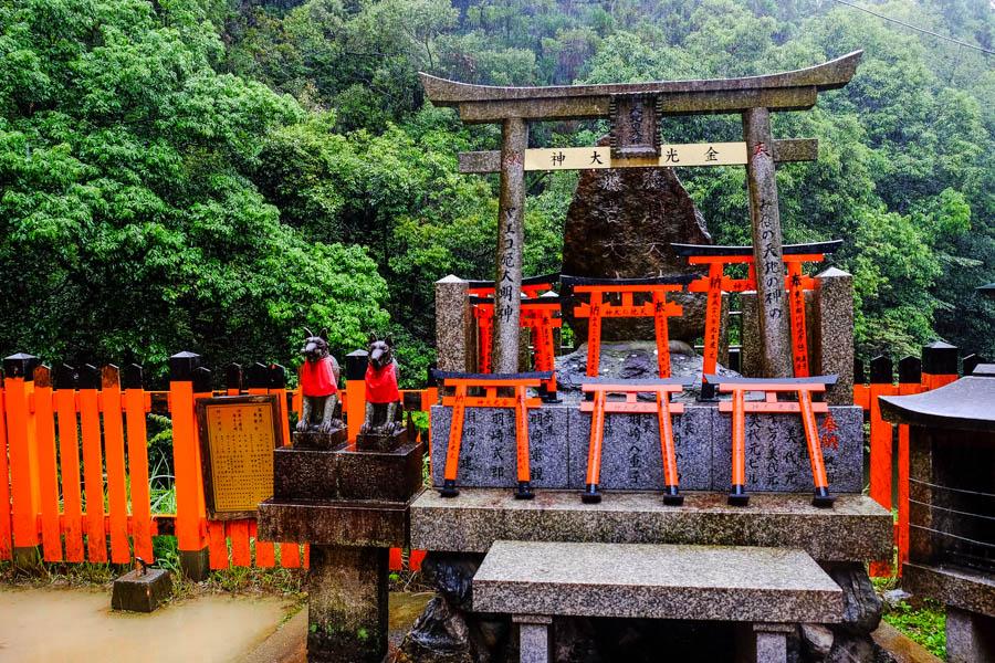 Renards, torii, forêt de Fushimi Inari, Kyoto, Japon.