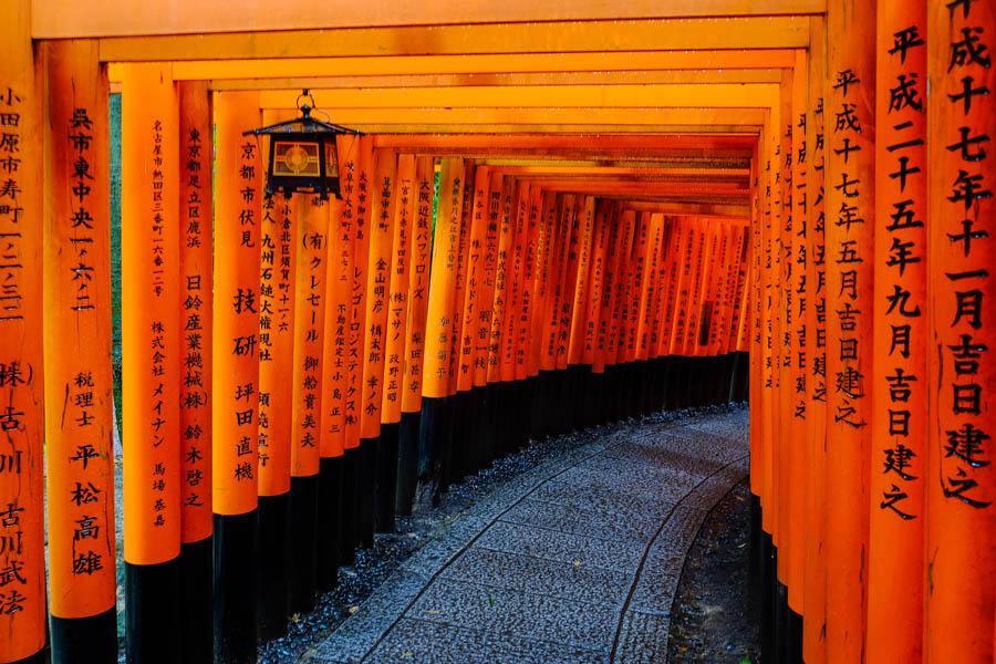 Chemin de torii, Fushimi Inari, Kyoto, Japon.