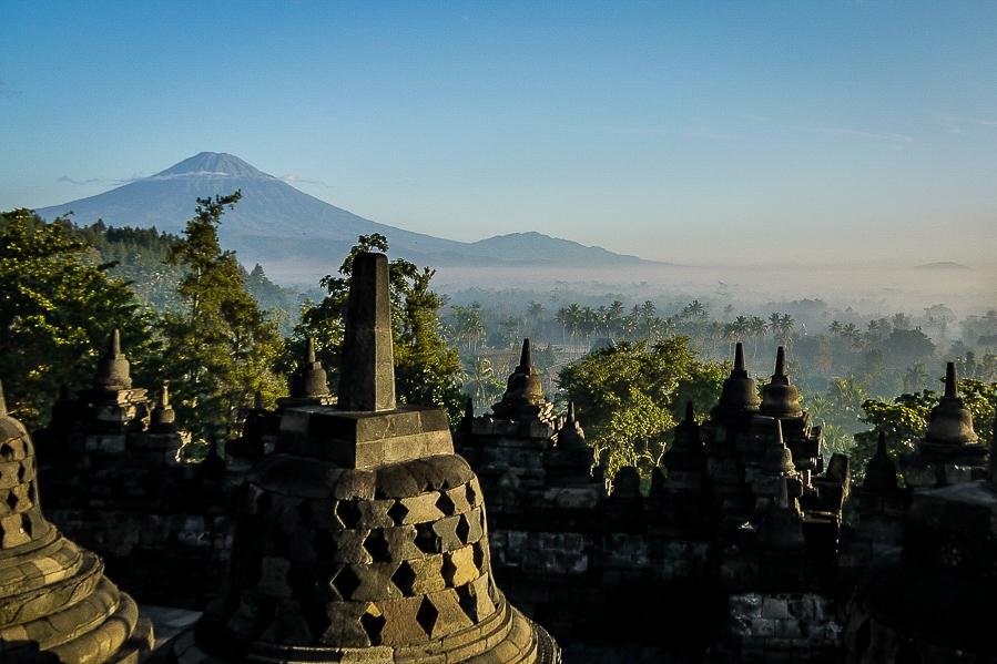 Vue d'ensemble de Borobudur, Indonésie.