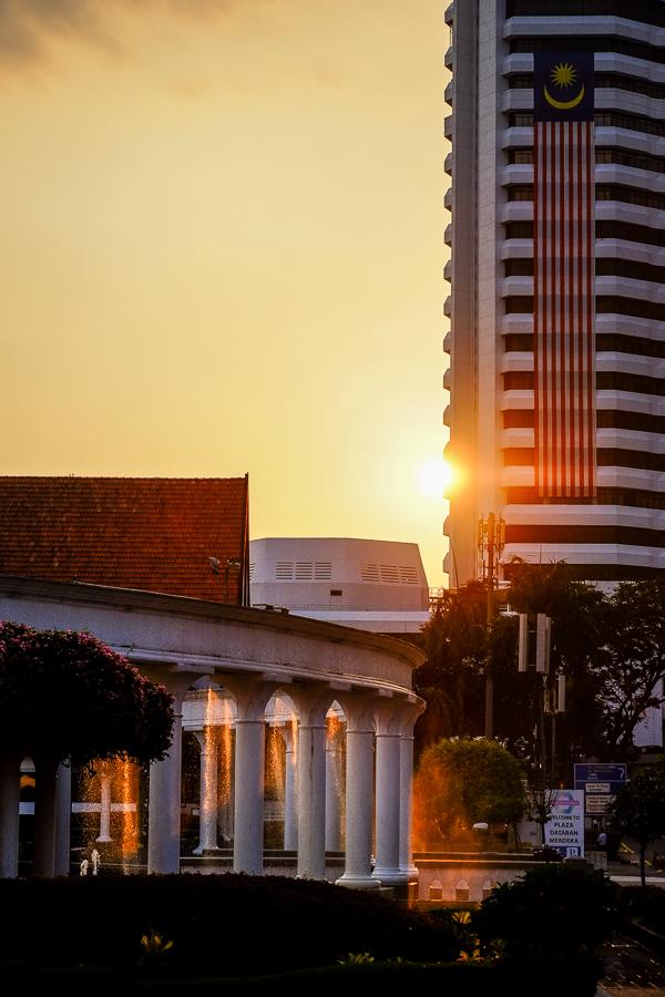 Coucher de soleil à Kuala Lumpur, Malaisie.