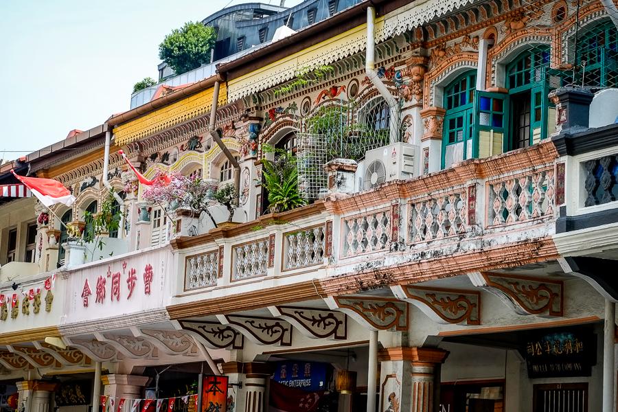 Balcons typiques à Singapour.