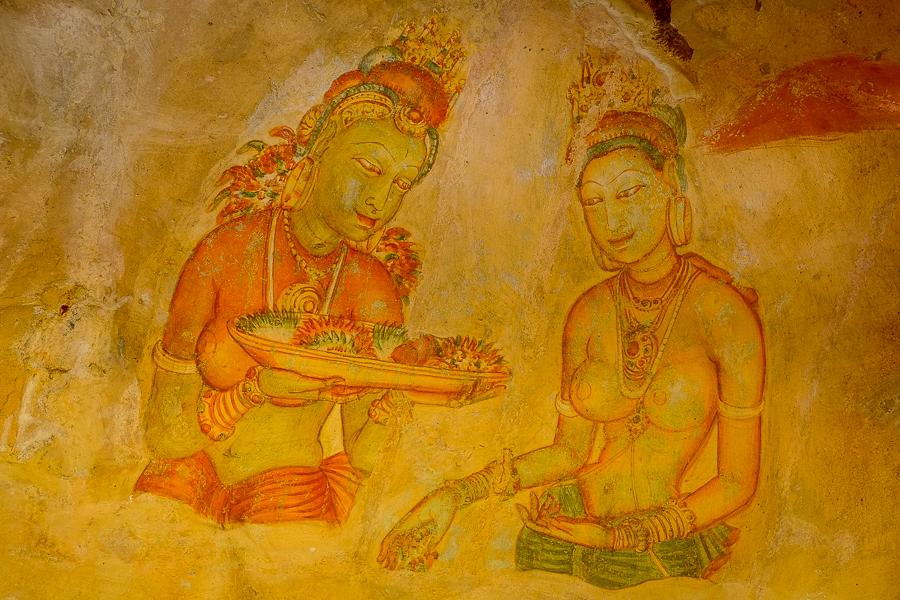 Peintures rupestres de Sigiriya, au Sri Lanka.