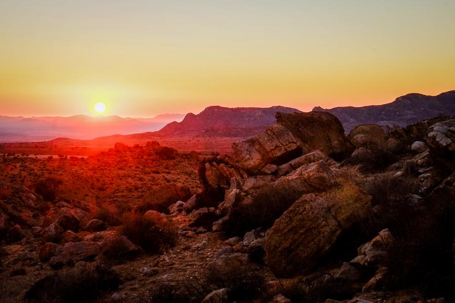 Coucher de soleil en Namibie.